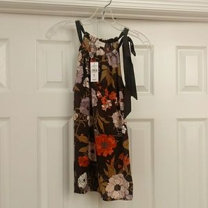 NWT Loft fall colors black flowy floral tank top